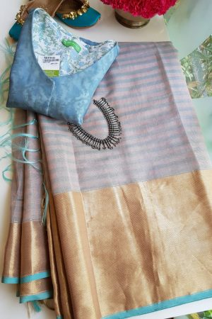 grey blue chandheri saree with zari border