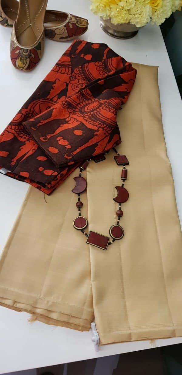 lavanyam beige plain kanchi silk saree
