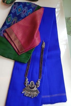lavanyam plain blue kanchi silk saree