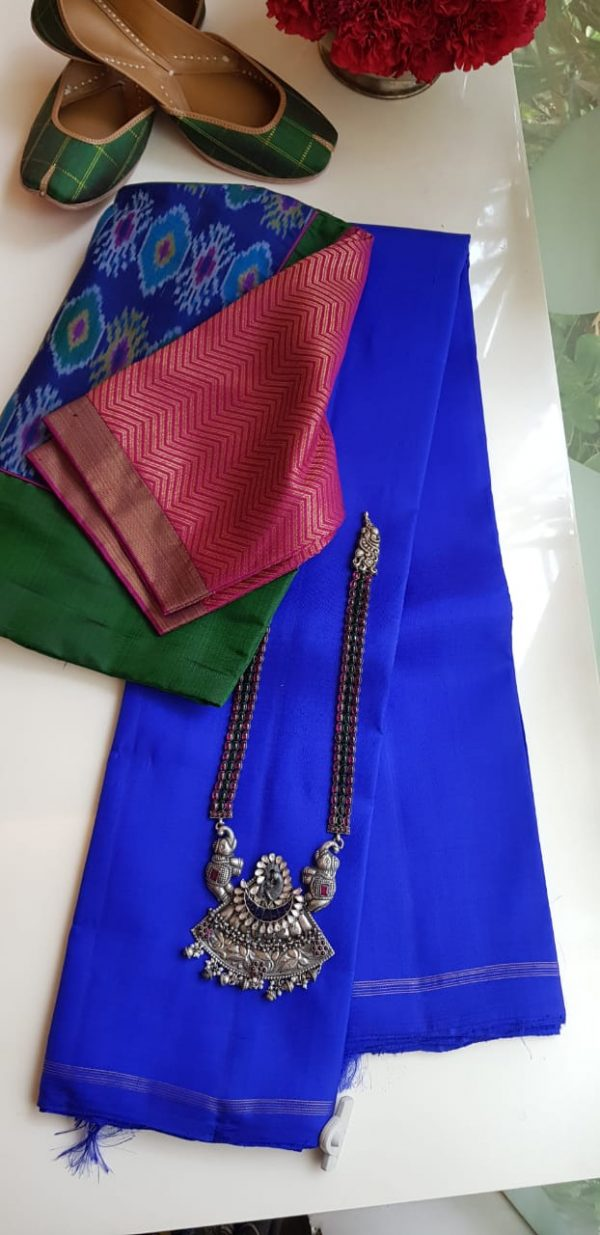 lavanyam plain blue kanchi silk saree