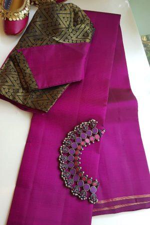 lavanyam plain dark pink kanchi silk saree