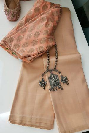 lavanyam plain light peach kanchi silk saree