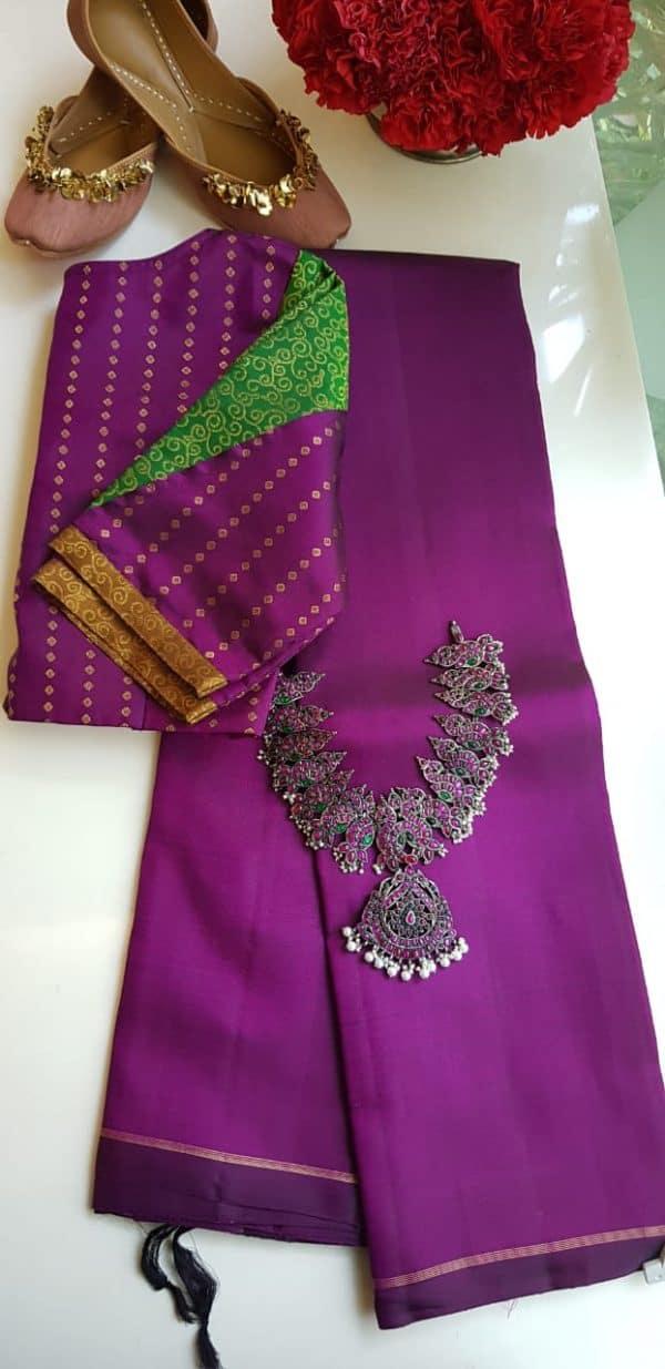 lavanyam plain violet kanchi silk saree