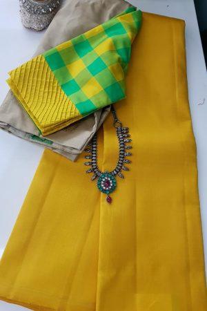 lavanyam plain yellow kanchi silk saree