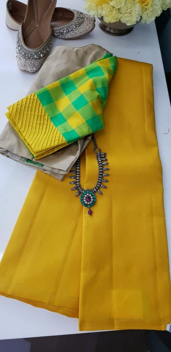 lavanyam plain yellow kanchi silk saree