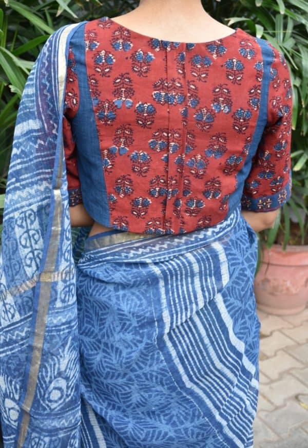 maroon blue ajrakh cotton blouse back