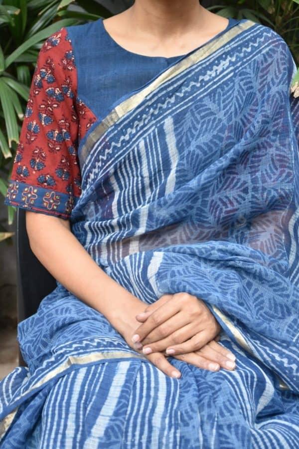 maroon blue ajrakh cotton blouse front