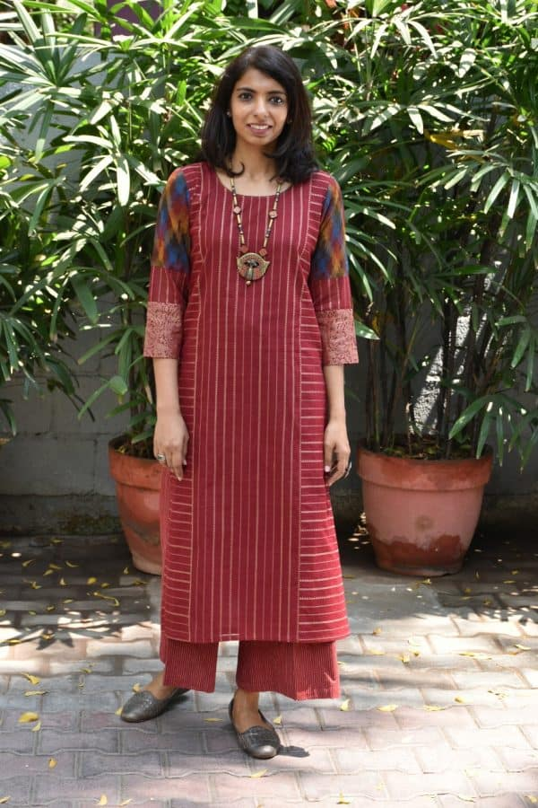 maroon kanchi cotton kurta