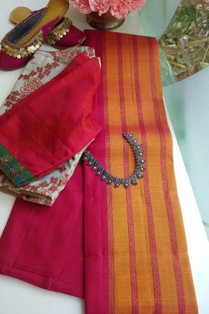 maroon mustard lines partly pallu kanchi silk saree