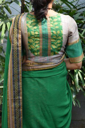 multicoloured benaras ready to wear blouse back