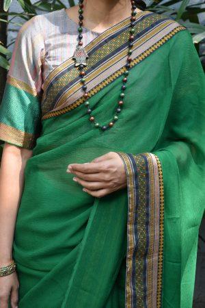 multicoloured benaras ready to wear blouse front