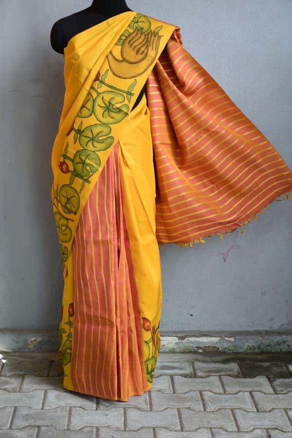mustard and peach stripes kanchi silk saree with kalamkari 1