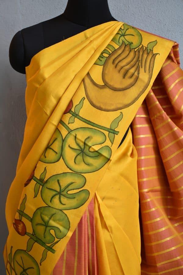 mustard and peach stripes kanchi silk saree with kalamkari 3
