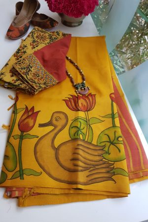 mustard and peach stripes kanchi silk saree with kalamkari