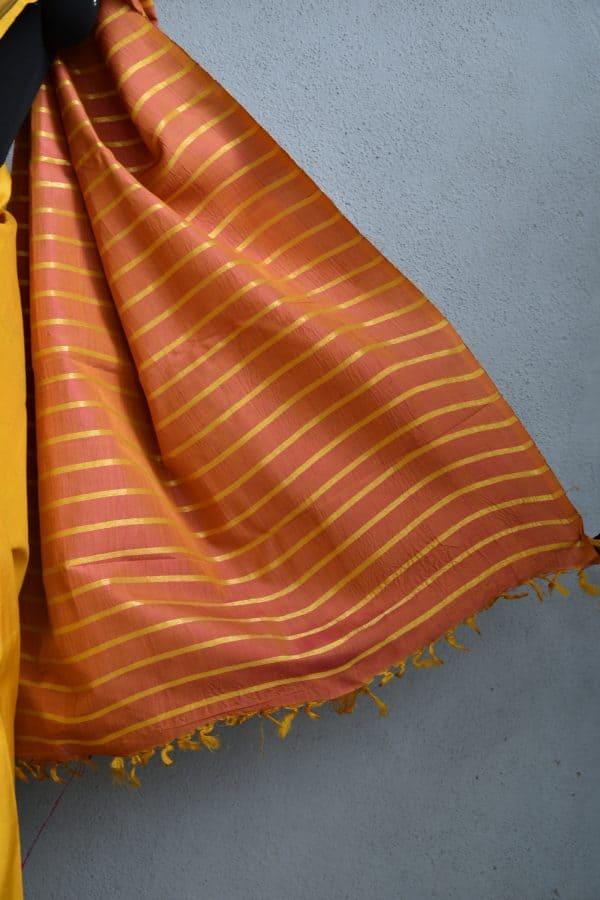 mustard and peach stripes kanchi silk saree with kalamkari 4