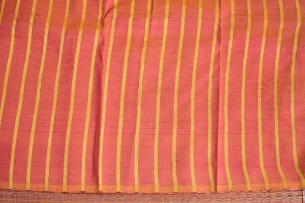 mustard and peach stripes kanchi silk saree with kalamkari blouse