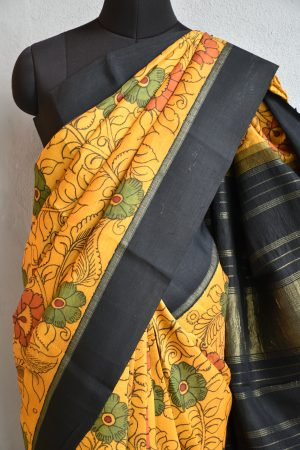 mustard kanchi silk saree with black korvai border and kalamkari 3