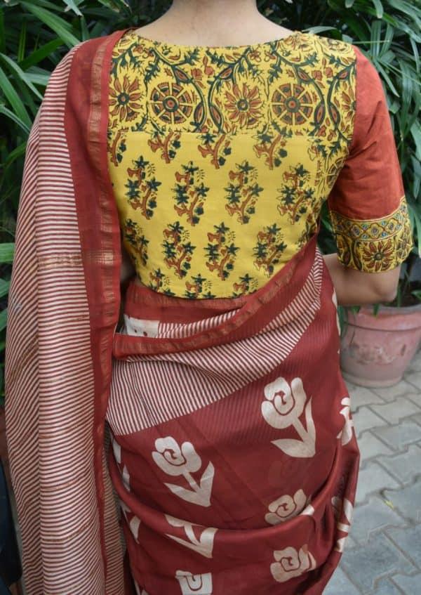mustard rust ajrakh cotton blouse back