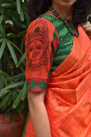orange and green kanchi silk kalamkari blouse sleeves