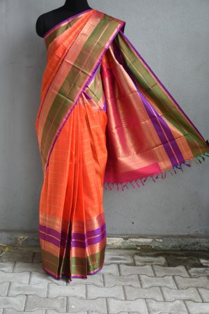 orange checks kanchi silk saree with long border 1