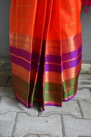 orange checks kanchi silk saree with long border 2