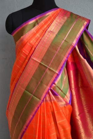 orange checks kanchi silk saree with long border 3