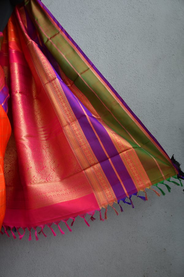 orange checks kanchi silk saree with long border 4