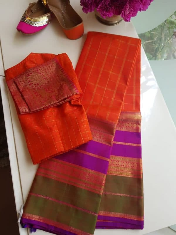 orange checks kanchi silk saree with long border