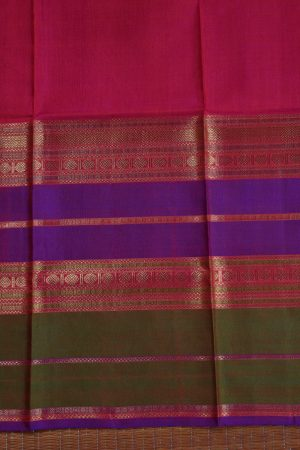 orange checks kanchi silk saree with long border blouse