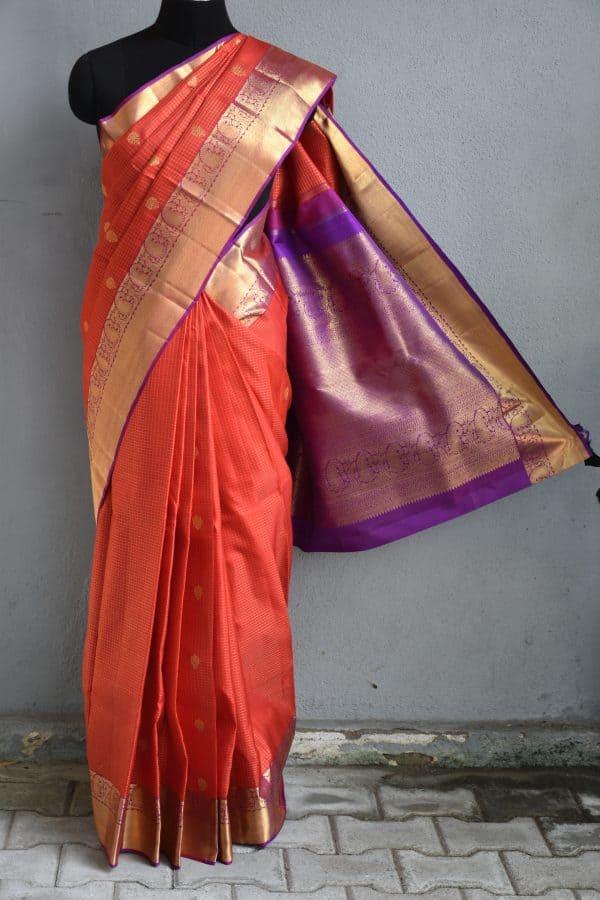 orange checks kanchi silk saree with magenta border 1