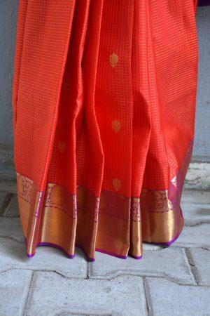 orange checks kanchi silk saree with magenta border 2
