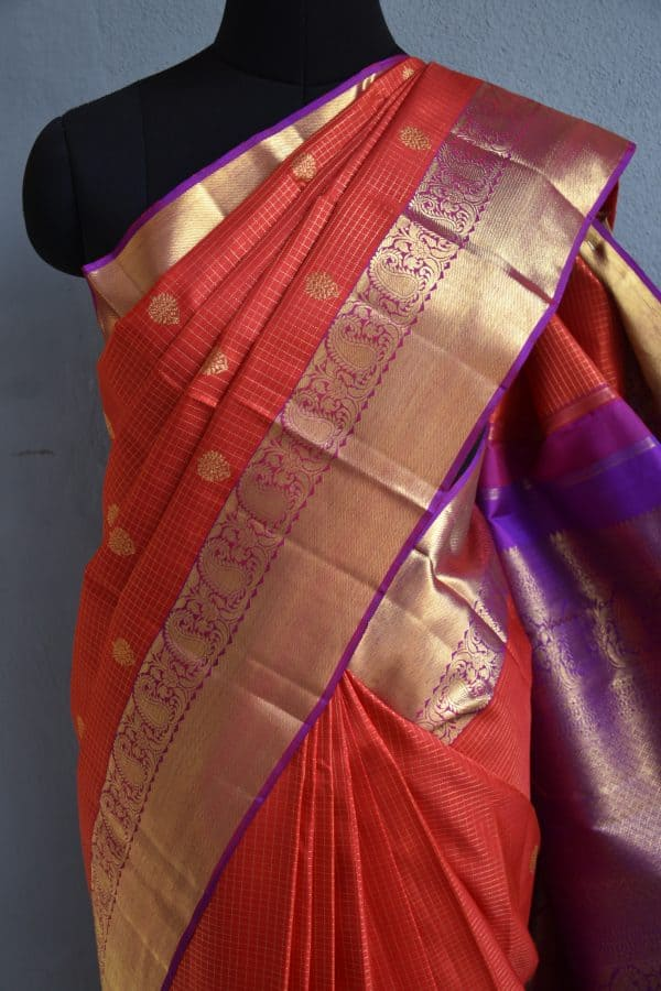 orange checks kanchi silk saree with magenta border 3