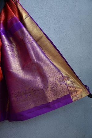 orange checks kanchi silk saree with magenta border 4