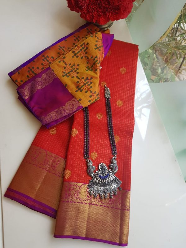 orange checks kanchi silk saree with magenta border