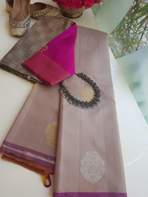 pale mauve ikat weave kanchi silk saree