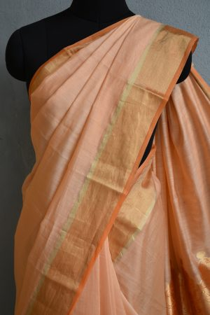 peach chandheri saree 3