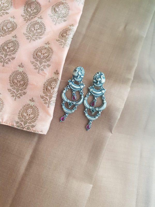 peacock kemp silver earring