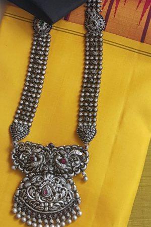 peacock pendant long necklace silver