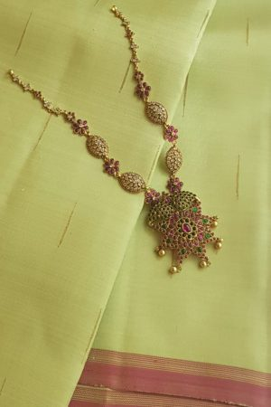 pink and green stone goldplated chain