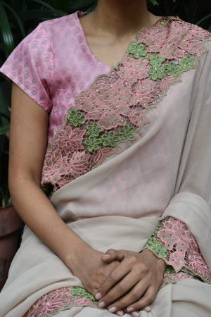 pink organza blouse with printed lining front