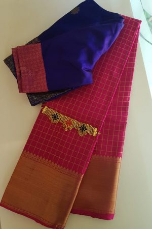 pink silk zari checks
