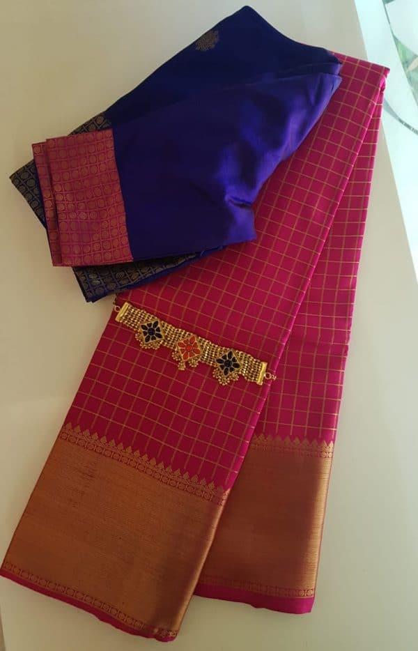 pink silk zari checks