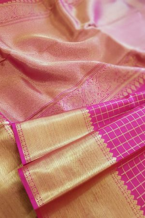 pink silk zari checks3