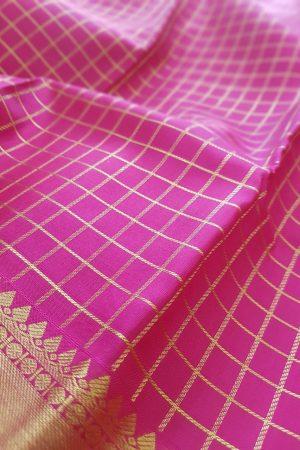 pink silk zari checks3