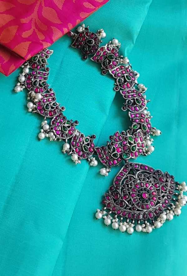 pink silver necklace with pearls