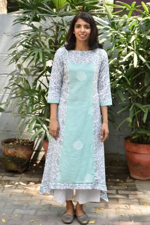 printed kota and muslin asymmetric tunic