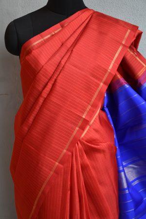 red and blue kanchi silk saree 3