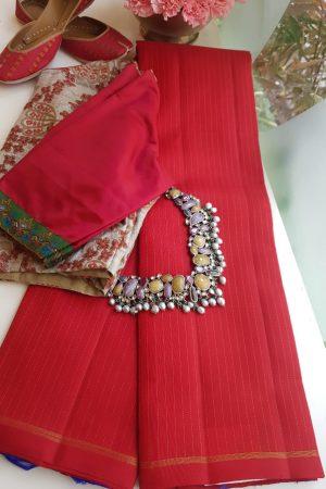 red and blue kanchi silk saree