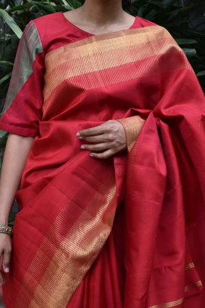 red green kanchi silk blouse front