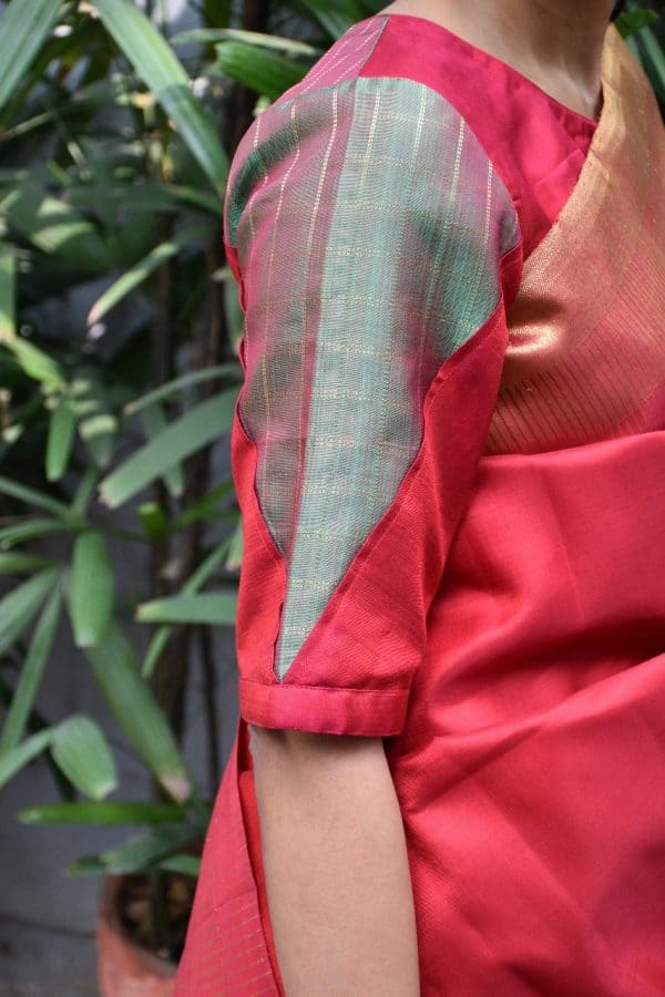 red green kanchi silk blouse sleeves
